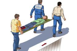 Использование носилок при переломе бедра